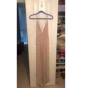 Dresses & Skirts - Cream/beige spaghetti strap formal gown